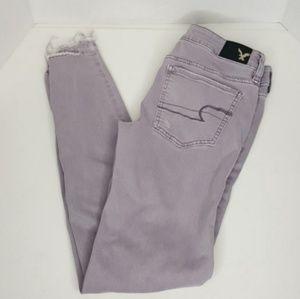 America Eagle Long Grey Skinny Jeans